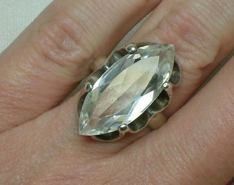 Statement Ring, White Spinel Marquise. 1960s Mod era Bling. Size 5 3/4