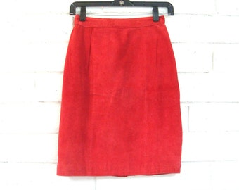 xs // 80's SUEDE PENCIL SKIRT vintage rust red tomato slim fit 3/4 sexy mini skirt