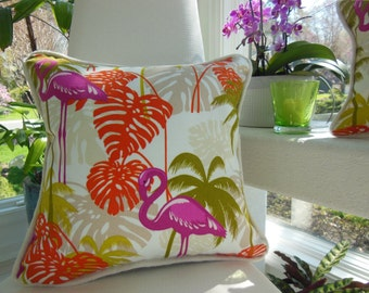 Tropical Flamingo Pillow - Beach House Designer Pillow  - Burlap Trim Decorative Pillow - Reversible 18 x 18, 15 x 15 or 12 x 16 Lumbar