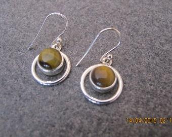 Tiger Eye Sterling Silver Earrings