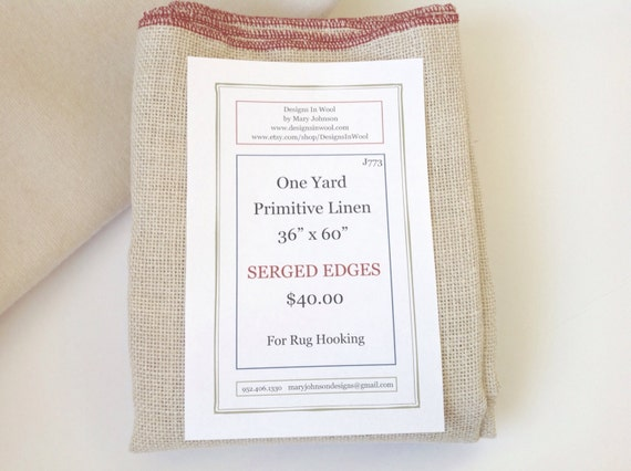 One Yard Primitive Linen for Rug Hooking with Serged Edges, J773, Rug Hooking Backing Fabric, Foundation Fabric