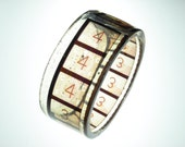 resin bracelet vintage filmstrip bracelet bangle . numerical countdown leader 3 and 4 . graphic and chunky