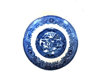 SAUCER Plate- Blue and White- 105 YRS OLD Willow Ware- Old Antique- Flow Blue China-Holland- China Pottery Societe Ceramique Maestricht -