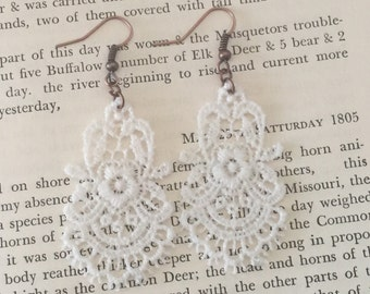 White Lace Earrings, Handmade White Crochet Chandelier Earrings