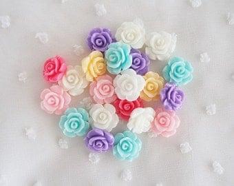12pcs - Small Rose Mix Decoden Cabochon (14mm) FL10016