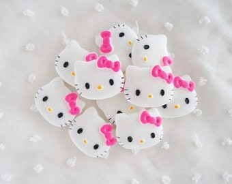 RESTOCKED 5pcs - Medium Kitty with Pink Bow Decoden Cabochon (28x22mm) HKM10010