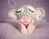Super cute crochet sleepy elephant baby, child, toddler hat, beanie. Newborn baby. Great photo prop. baby shower, gift