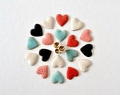 Choose your color - gold rim polka dot - stud earrings -  heart ceramic stud post earrings - Jasmin Blanc jewelry