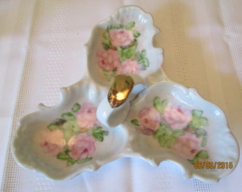 Vintage Three Compartment Dish, Dish with Roses, Candy, Nut, and Mint Dish, Serving Container, Hand Painted Roses, Home Decor