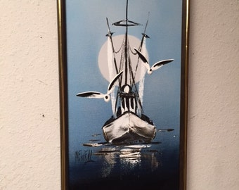 Vintage Original Oil Painting SAILBOAT Framed ART by Newell Seascape Seagulls
