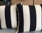 Sunbrella Outdoor Fabric Black and Off White Stripe Throw Pillows 16 x16 With Insert