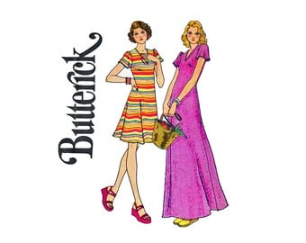 Butterick 4164 Fit and Flare Maxi Dress for Knits Fast & Easy UNCUT Vintage Sewing Pattern 1970s Young Junior teen Size 11/12