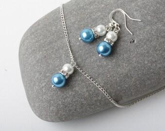 Malibu blue wedding jewelry, bridesmaid jewelry set, blue earrings necklace set, Ocean blue wedding, bridesmaid gift, Bridal party gift