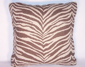 "Brown Zebra Stripe Pillow, 17"" Square, Ready to ship,  Cover and Insert, Heavy Linen Blend, Tiger Animal Print Cushion, Beige Dark Brown"