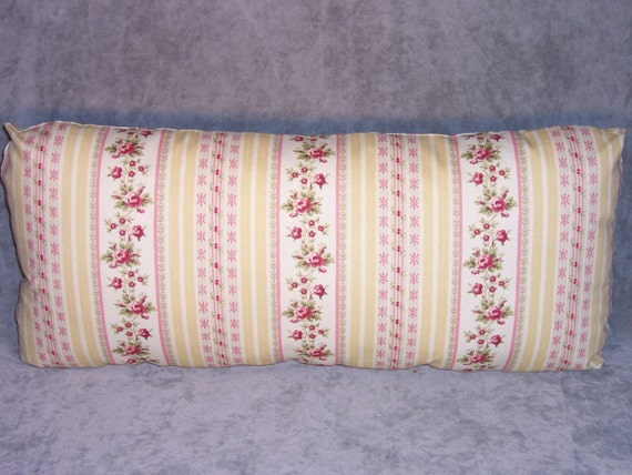 Yellow Ticking Floral Stripe Throw Pillow Long by PillowDetails