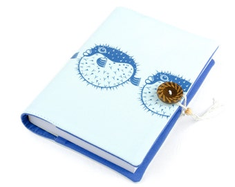Blowfish, Journal, Notebook, Travel Journal, Travel Diary, Handmade, unique gift, pufferfish, kogelvis, kuglefisk, notesbog, notitieboekje