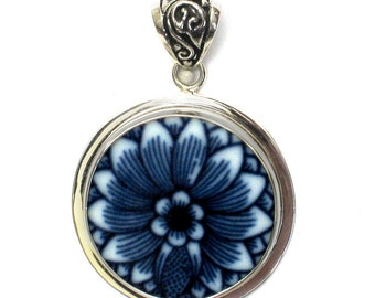 Broken China Jewelry Blue Danube Close Up Flower Sterling Circle Pendant