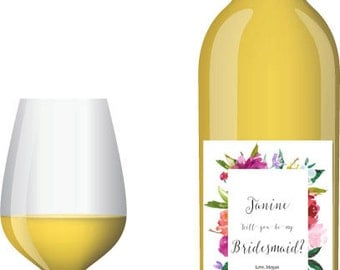 Personalized Rose Wine Bottle Label- custom will you be my bridesmaid, maid of honor, bridal party, wedding party