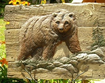 Grizzly Bear Relief-Sculpture Limited Edition Artist signed George Turner