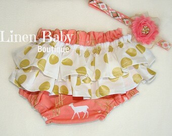 Woodland Deer Ruffled Bloomers. Ruffled Baby Girl Panties. Diaper Cover. Coral and Metallic Gold Dot.