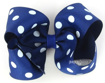 Royal Blue Polka Dot Hair Bow - 4 Inch Boutique Hair Bow For Girls - Dark Blue and White polka dots - Baby Toddler Girl