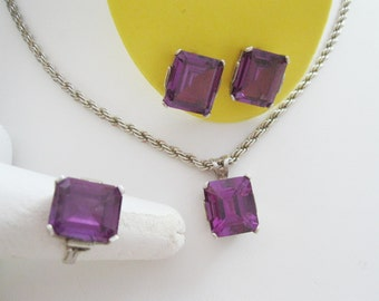 Amethyst Set in Sterling Silver Ring, Earrings, Pendant, and Chain