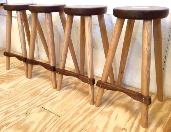 Minimalist stool made from locally harvested hardwoods