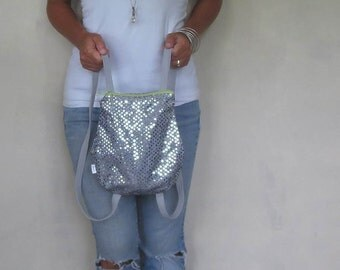 mini backpack in silver sequins with zipper closure and adjustable straps. design your own choose zipper color. small backpack purse.