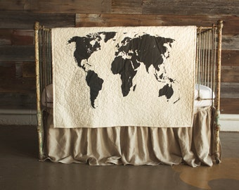 World Map - baby/toddler quilt, with optional 100% linen ruffle crib skirt