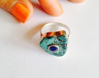 Large Vintage Turquoise Silver Ring with Inlay Stone, Abstract Turquoise Stone Ring with Lapis Lazuli