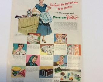 Firestone Velon, Firestone Velon Ad,Display Ad,Velon Ad,Classic Ad,Firestone Plastics,Post War Ad, Home Decor Ad,Velon,Plastic Ad