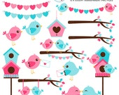 Love Birds Clipart Set - clip art set of birds, love, cute birds, romantic, wedding - personal use, small commercial use, instant download