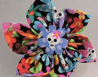 Dog Bow Tie or Flower  - Flower Skull