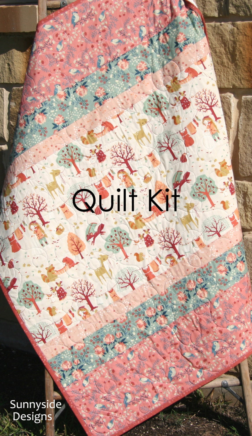 Woodland Baby Quilt Kit Diy Project Forest Animals Acorn