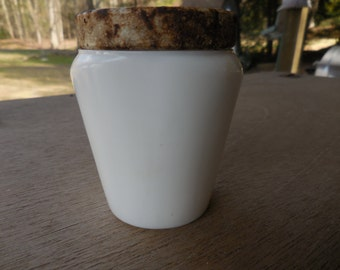 Vintage Pacquins Cold Cream Jar White Milk Glass Rusty Metal Lid 1950s Hazel Atlas Bathroom Decor