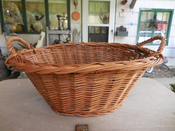 Vintage 1950s To 1960s Miniature Wicker Laundry Basket Brown