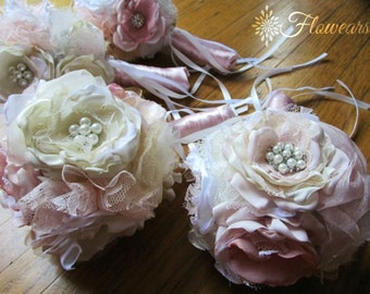 Bridesmaids bouquets in ivory, blush, white and gold, Wedding blush bouquet, Bridal bouquet, fabric flower bouquets
