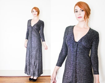 Vintage 1960s Dress - Silver Lame Full Length Maxi Disco Party Dress 60s - Small