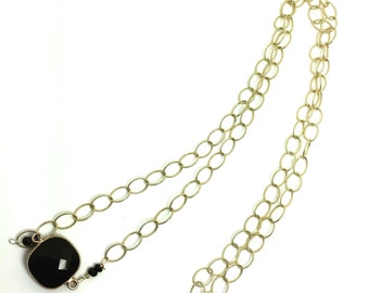 Black onyx gold fill Necklace, Lilyb444, gold jewelry,
