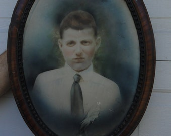 Vintage Oval Victorian Portrait  Picture photo Boy Tiger wood frame shabby rustic Day of the dead Antique Haunted Bohemian decor