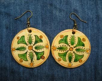 Romanian traditional motif, earrings, original folk art painting, folk art jewelry,  hippie jewelry, Hand Painted Jewellery