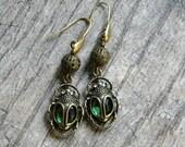 Dangle earrings handmade beaded jewelry insect earrings beetle jewelry green glass jewelry unique earrings
