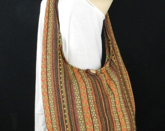 Hand Woven Cotton Bag Purse Hobo Hippie Sling Crossbody Messenger Black IKAT Lined Top Zip A55