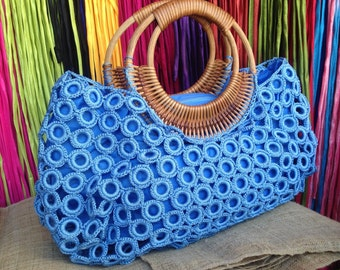 Beautiful Boho Light Blue Crochet Bag With Nylon Lining , Top zipper, Inside Pocket And Rattan Loop Handles