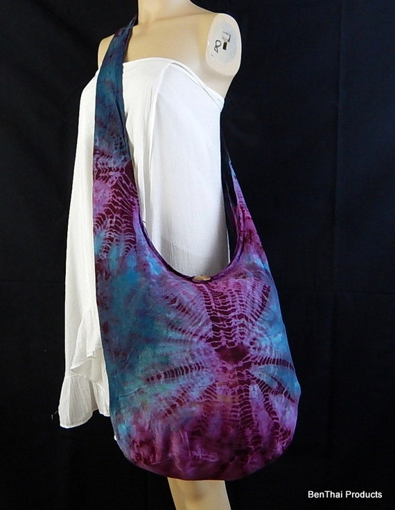 Tie Dye Bag Purse Hobo Hippie Sling Messenger Crossbody Classic OAK Long Strap UC3-13