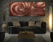 copper painted metal art new style modern Long wall decor horizontal vertical sculpture Original abstract hand made painting - Lubo Naydenov