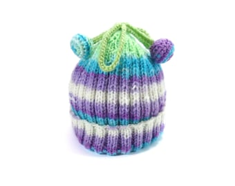 Knitted Baby Hat - Green, Blue and Violet, 0 - 3 month