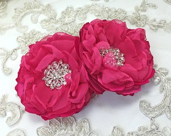 Fuchsia Hair Clips - Flowers with Crystal Center Brooch Pin, Shoe Clips for a Bride, Bridesmaid Gift, Special Event Photo Prop, Weddings Ana