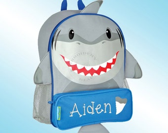 Backpack - Personalized and Embroidered - Sidekick Backpack - SHARK