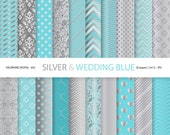 Wedding blue and silver digital paper, scrapbook paper, grey, silver, wedding, digital backgrounds in silver and wedding blue - Pack 642